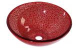 VENEZIA skleněné umyvadlo průměr 41,5 cm, červená