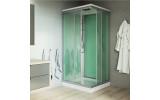 Mereo, Sprchový box, čtvercový, 90cm, satin ALU, sklo Point, zadní stěny zelené, litá vanička, se stříškou CK34122MS