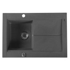 Granitový vestavný dřez s odkapem 76,5x53,5 cm, černá