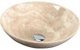 BLOK 1 kamenné umyvadlo průměr 40cm, leštěný béžový travertin
