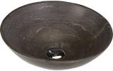 BLOK 1 kamenné umyvadlo průměr 40cm, matný tmavý kámen