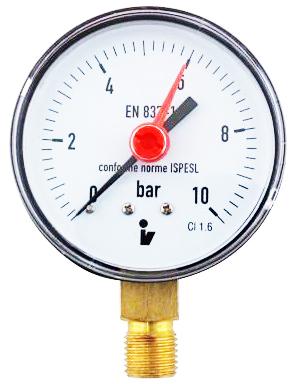 """SITEM Manometr (tlakoměr) d50mm 0-10 BAR SPODNÍ vývod 1/4"""" - voda, vzduch M5010S"""