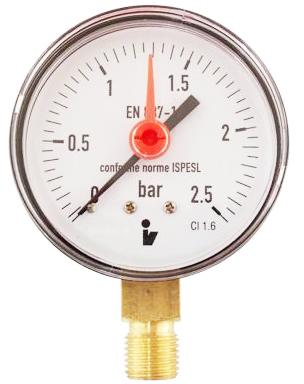 """SITEM Manometr (tlakoměr) d63mm 0-2,5 BAR SPODNÍ vývod 1/4"""" - voda, vzduch M6325S"""
