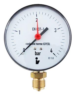 """SITEM Manometr (tlakoměr) d63mm 0-4 BAR SPODNÍ vývod 1/4"""" - voda, vzduch M6304S"""