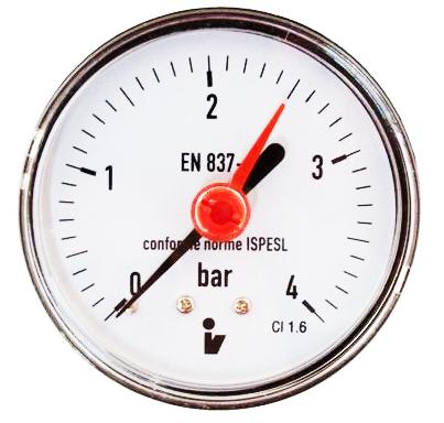 """SITEM Manometr (tlakoměr) d63mm 0-4 BAR ZADNÍ vývod 1/4"""" - voda, vzduch M6304Z"""