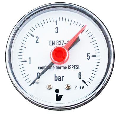 """SITEM Manometr (tlakoměr) d50mm 0-6 BAR ZADNÍ vývod 1/4"""" - voda, vzduch M5006Z"""