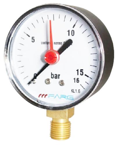 """SITEM Manometr (tlakoměr) d100mm 0-16 BAR SPODNÍ vývod 1/2"""" - voda, vzduch M10016S"""