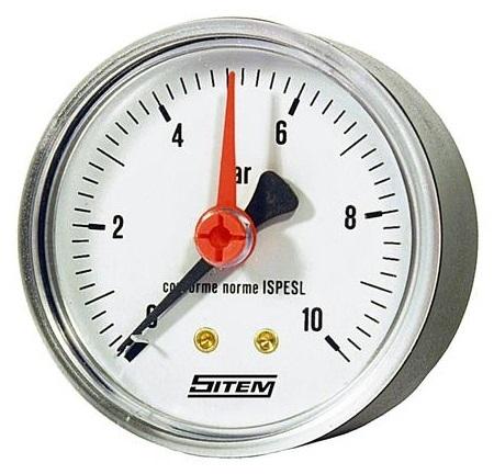 """SITEM Manometr (tlakoměr) d50mm 0-10 BAR ZADNÍ vývod 1/4"""" - voda, vzduch M5010Z"""