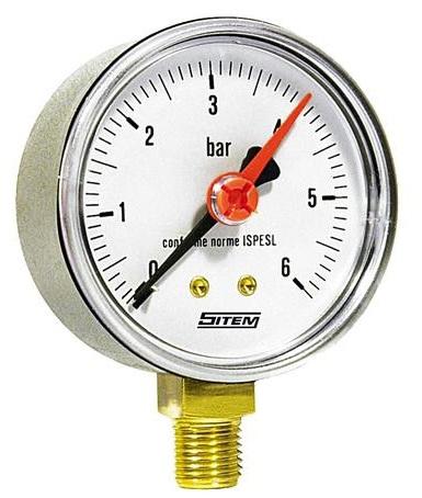 """SITEM Manometr (tlakoměr) d50mm 0-6 BAR SPODNÍ vývod 1/4"""" - voda, vzduch M5006S"""