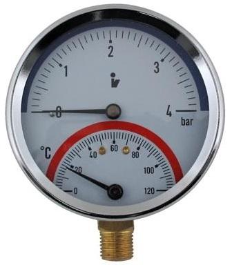 """SITEM Termomanometr d80mm 0-4 BAR 0-120°C SPODNÍ vývod 1/2"""" - voda, vzduch TM5404S"""