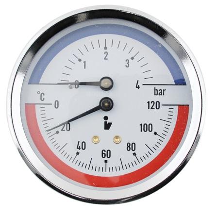 """SITEM Termomanometr d80mm 0-6 BAR 0-120°C ZADNÍ vývod 1/2"""" - voda, vzduch TM5406Z"""