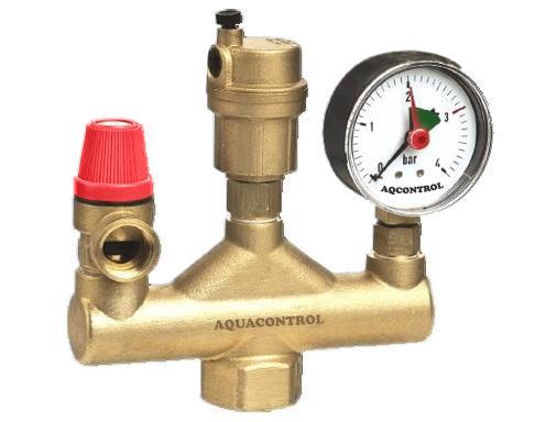 """AQUACONTROL 420 SET 1"""" x 3 BAR Automatický odvzdušňovací ventil s manometrem 0-4 BAR 302SET"""