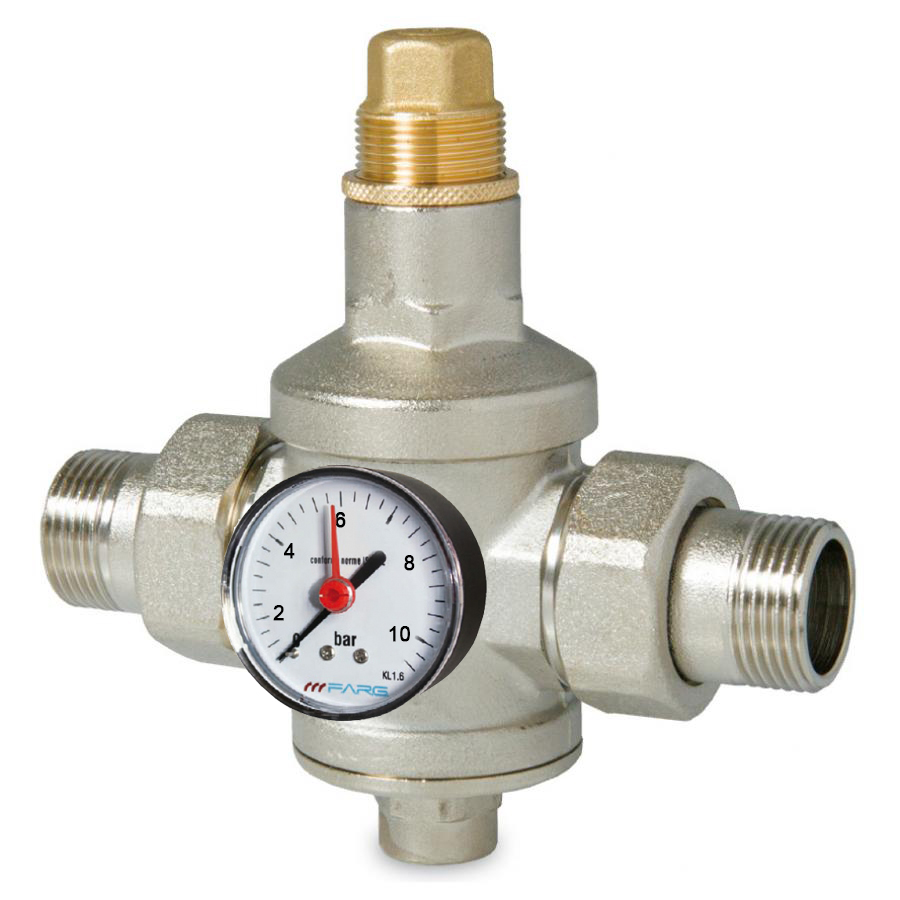 "F.A.R.G. 746 Regulátor tlaku vody 1/2"" Rozsah 1-6 BAR, PN25 s manometrem 0-10 BAR 74612M"