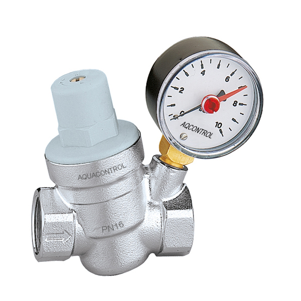"Regulátor tlaku vody 5334 1/2"" AQUACONTROL PN16 R. 2-5 BAR, s manometrem 0-10 BAR 5334AC12"