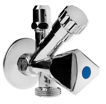 """Kombinovaný rohový ventil 1/2"""" x 3/4"""" x 3/8"""" - Chrom (1473) 651473"""