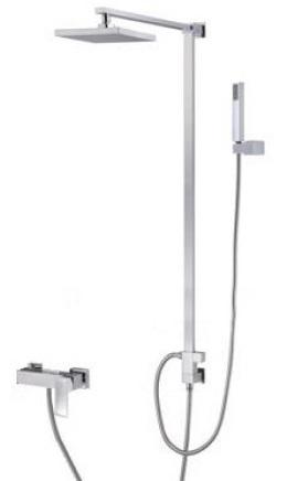 TORINO 2856 Nástěnný sprchový sloup s hranatou vodovoní baterií s příslušenstvím, CHROM, rozteč 150mm TO2856