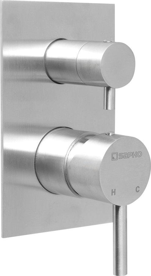 MINIMAL podomítková sprchová baterie, 2 výstupy, nerez MI042