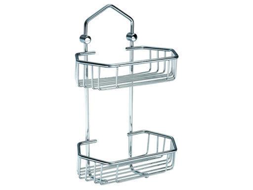 Drátěná koupelnová polička šestiúhelníková, dvojitá - CHROM 804121