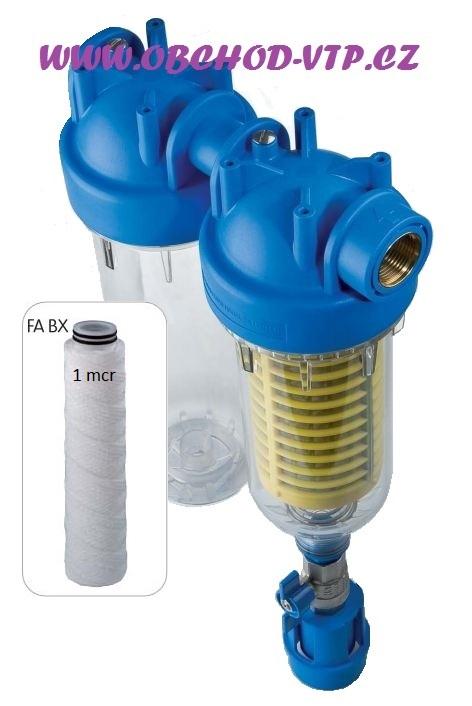 """ATLAS FILTRI Vodní filtr samočistící HYDRA DUO 1"""" RSH 50mcr + FA 1mcr BX 8BAR, 45°C 6096173FA1"""