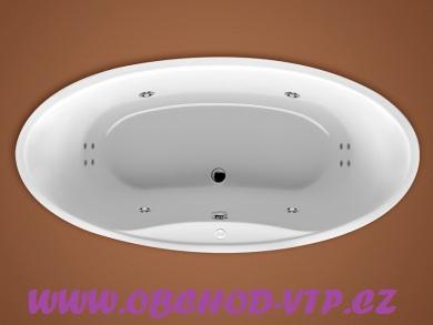 SANTECH DELTA BODY 200 - Akrylátová vana 185x90cm Masážní - Oválná (B200DEL185) B200DEL185