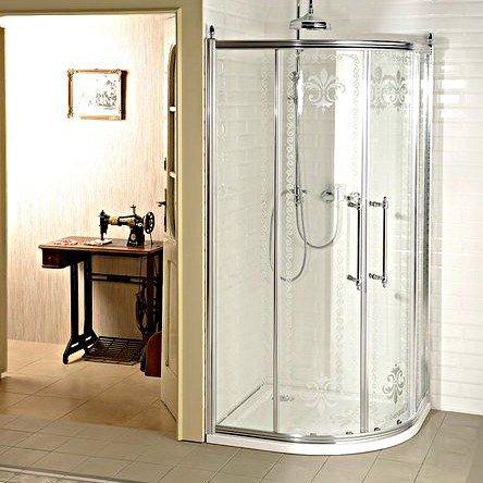 ANTIQUE čtvrtkruhová zástěna 1000x1000, 2 dveře dvoukřídlé, čiré sklo, chr GQ5010