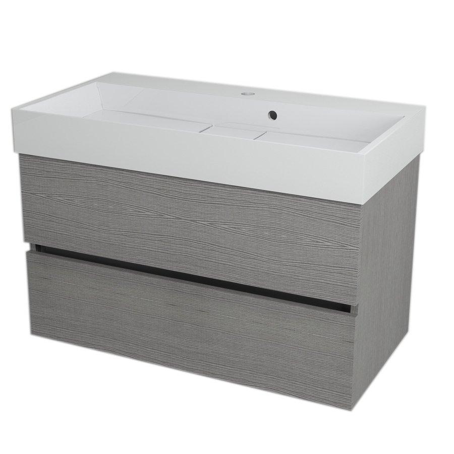 LARGO umyvadlová skříňka 89x50x45cm, dub stříbrný LA900