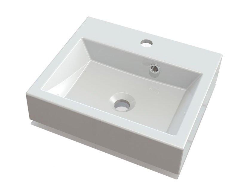 ORINOKO umyvadlo 42x36cm, litý mramor, bílá OR042
