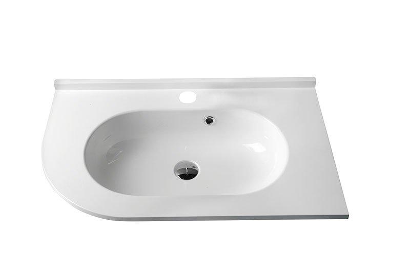 PULSE umyvadlo 75x4,4x45cm, litý mramor, bílá, pravé BM658