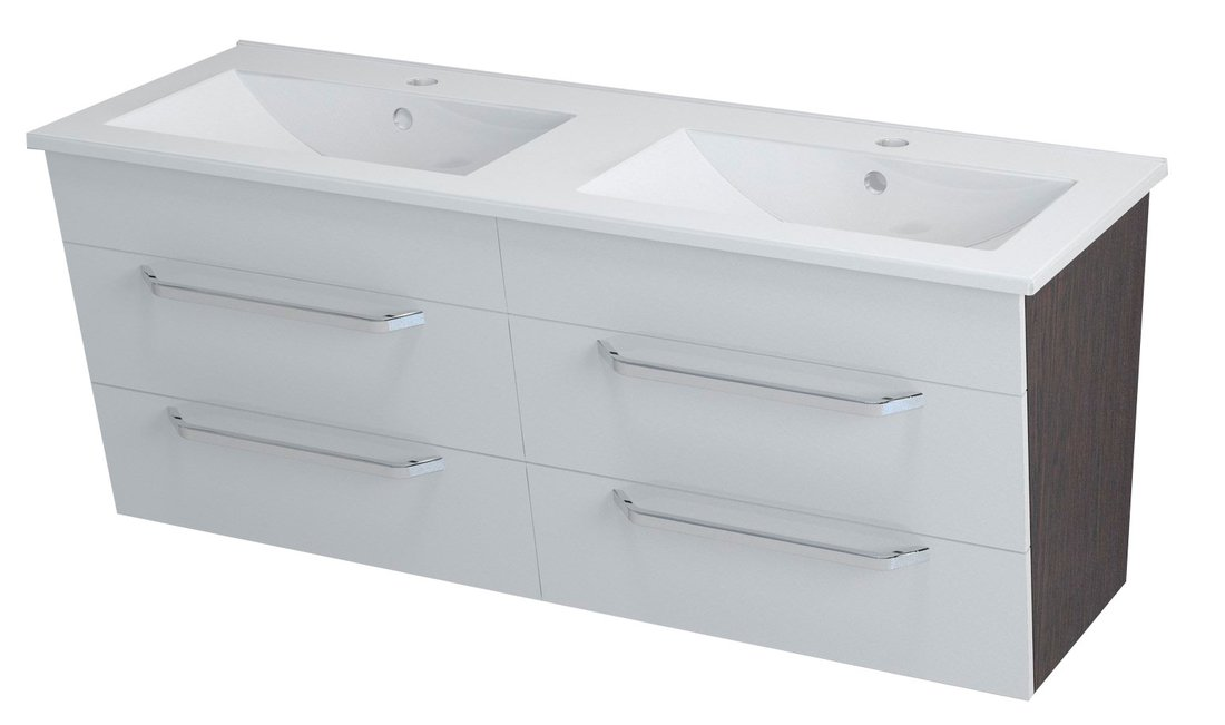 KALI umyvadlová skříňka 120x50x45cm, wenge/bílá 56120