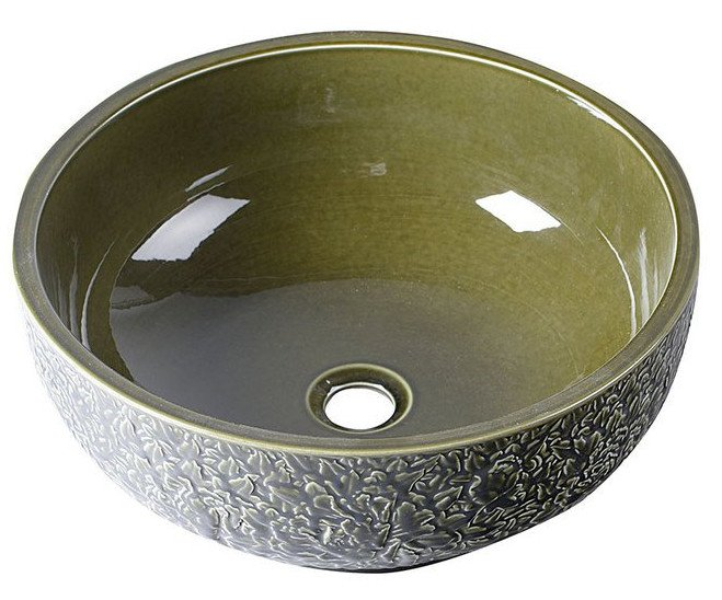 PRIORI keramické umyvadlo, průměr 43cm, olivová zelená PI016