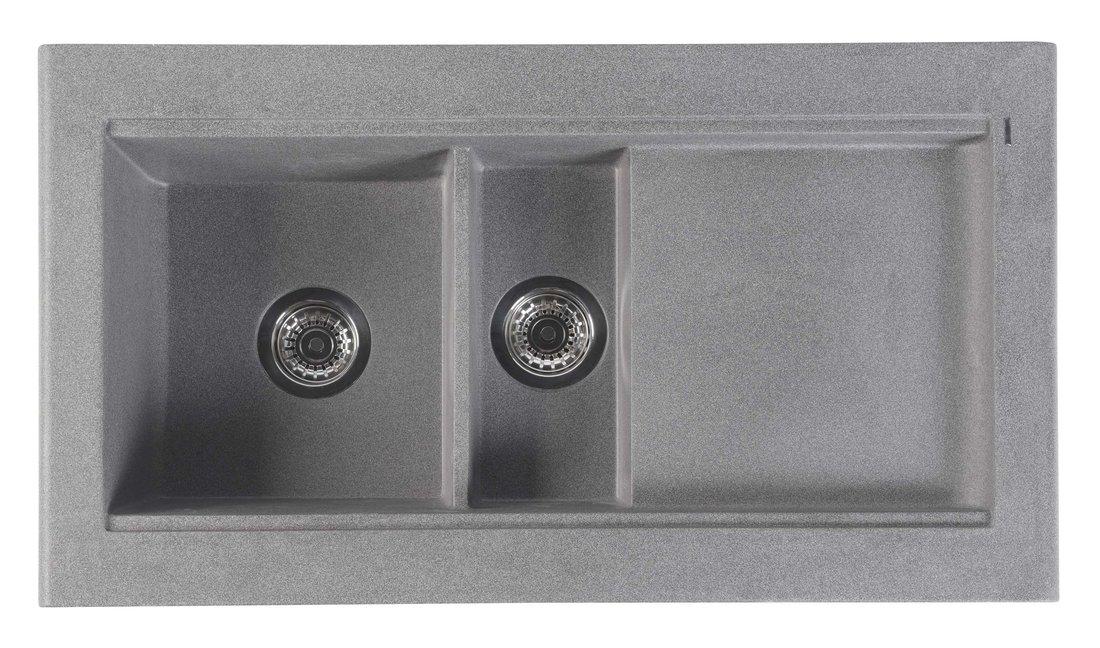 Dřez granitový vestavný s odkapávací plochou a vaničkou, 95,8x53,4 cm, šedá GR1303