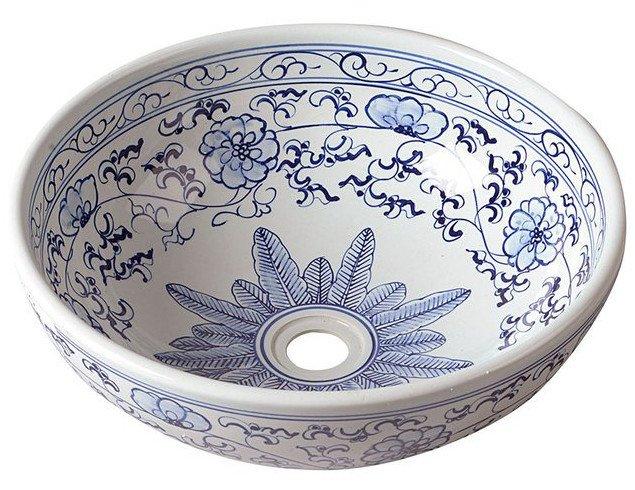 PRIORI keramické umyvadlo, průměr 42cm, bílá s modrým vzorem PI012