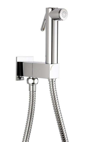 Nástěnný ventil s ruční bidetovou sprškou a bezpečnostní pojistkou,hranatý,chrom SG108