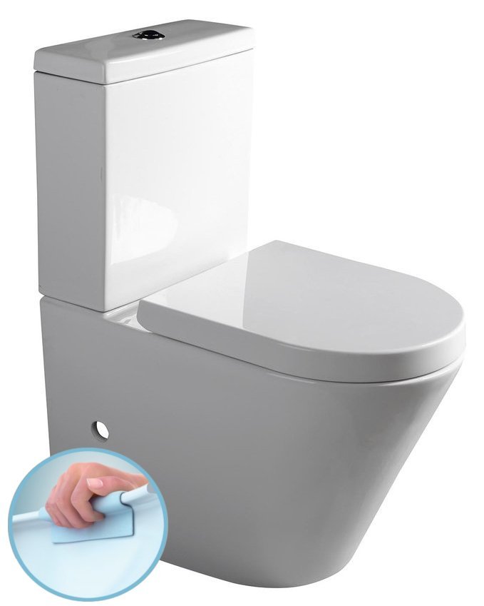 PACO RIMLESS WC kombi mísa s nádržkou včetně Soft Close sedátka, sp./zadní odpad PC1012R
