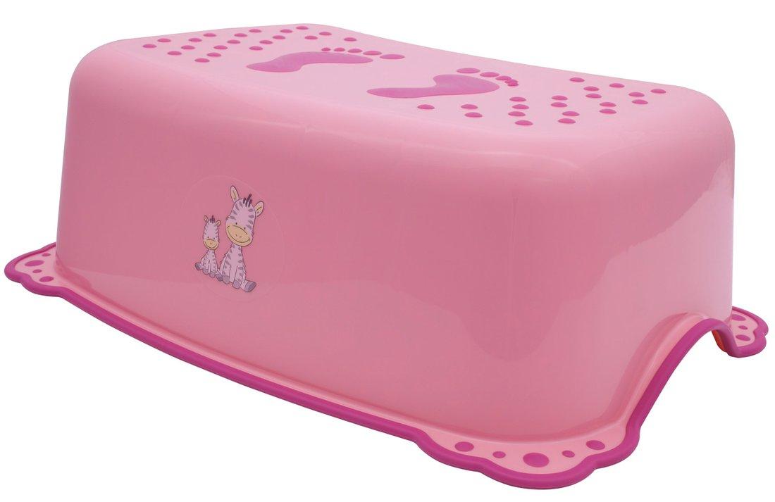 Dětské protiskluzové stupátko do koupelny Zebra, růžová 3196