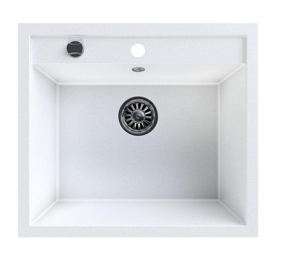 Dřez granitový vestavný mono, 57x51 cm, bílá GR1001