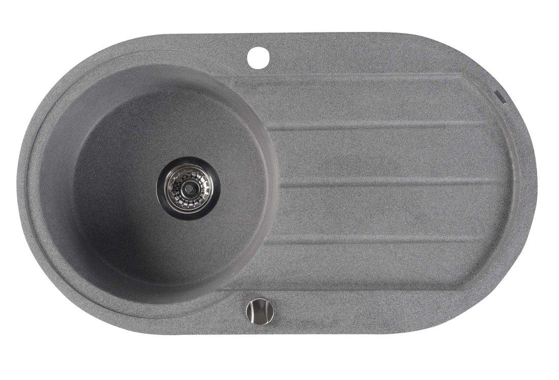 Dřez granitový vestavný s odkapávací plochou, 86x50 cm, šedá GR1203