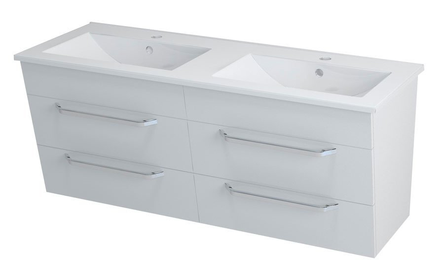 KALI umyvadlová skříňka s umyvadlem 150x50x46 cm, bílá 2X560761601-150