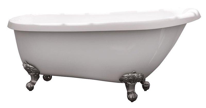 ANTIK volně stojící vana včetně nožiček, 155x78/67x73 cm, bílá/chrom AK101