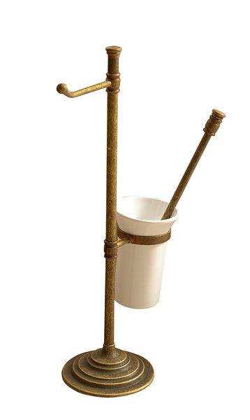 Stojan s držákem na toaletní papír a WC štětkou, bronz MC132