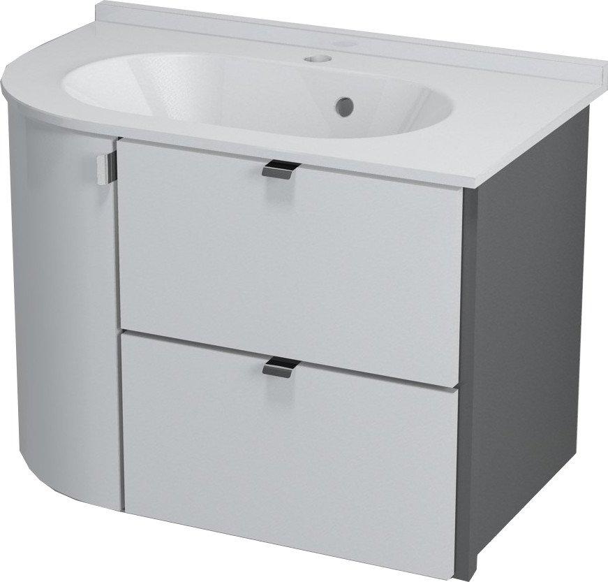 PULSE umyvadlová skříňka 75x52x45 cm, pravá, bílá/antracit PU076P