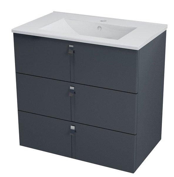 MITRA umyvadlová skříňka, 3 zásuvky, 74,5x70x45,2 cm, antracit MT082