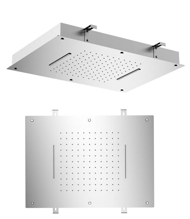 Stropní sprcha do podhledu se dvěma kaskádami, 560x400mm, leštěná nerez MS333