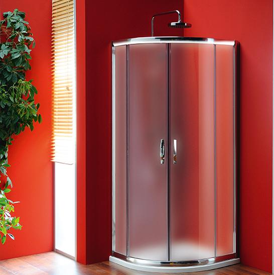 SIGMA čtvrtkruhová sprchová zástěna 800x800mm, R550, 2dveře, sklo Brick SG3158