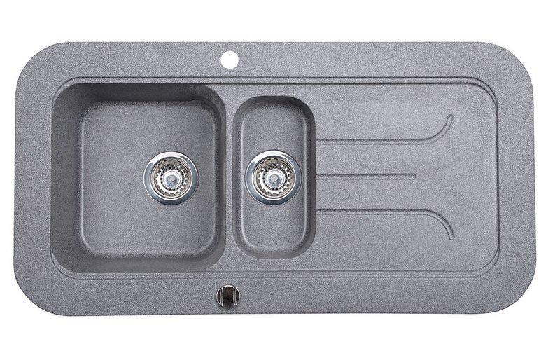 Granitový vestavný dřez s odkapávací plochou a vaničkou, 100x53 cm, šedá GR1403