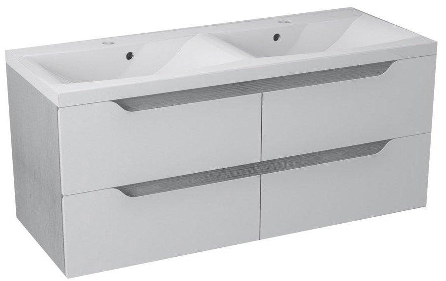 WAVE dvojumyvadlová skříňka 119,7x50x47,8cm, bílá/dub stříbrný WA122