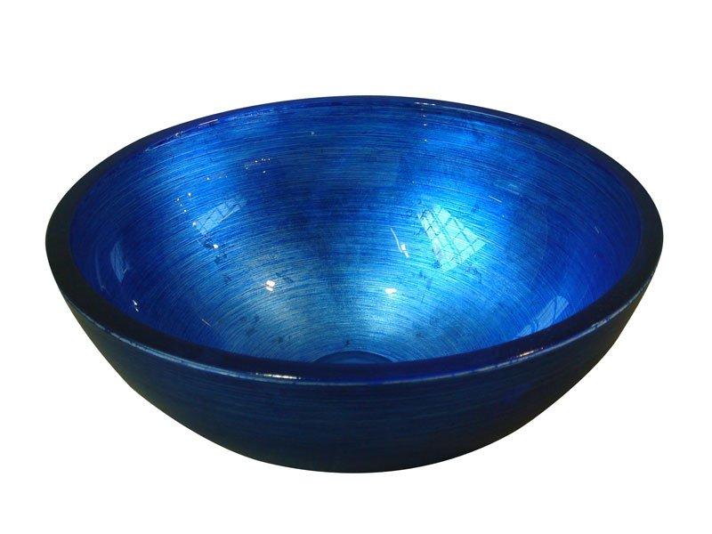 MURANO BLU, skleněné umyvadlo kulaté 40x14 cm, modrá AL5318-65