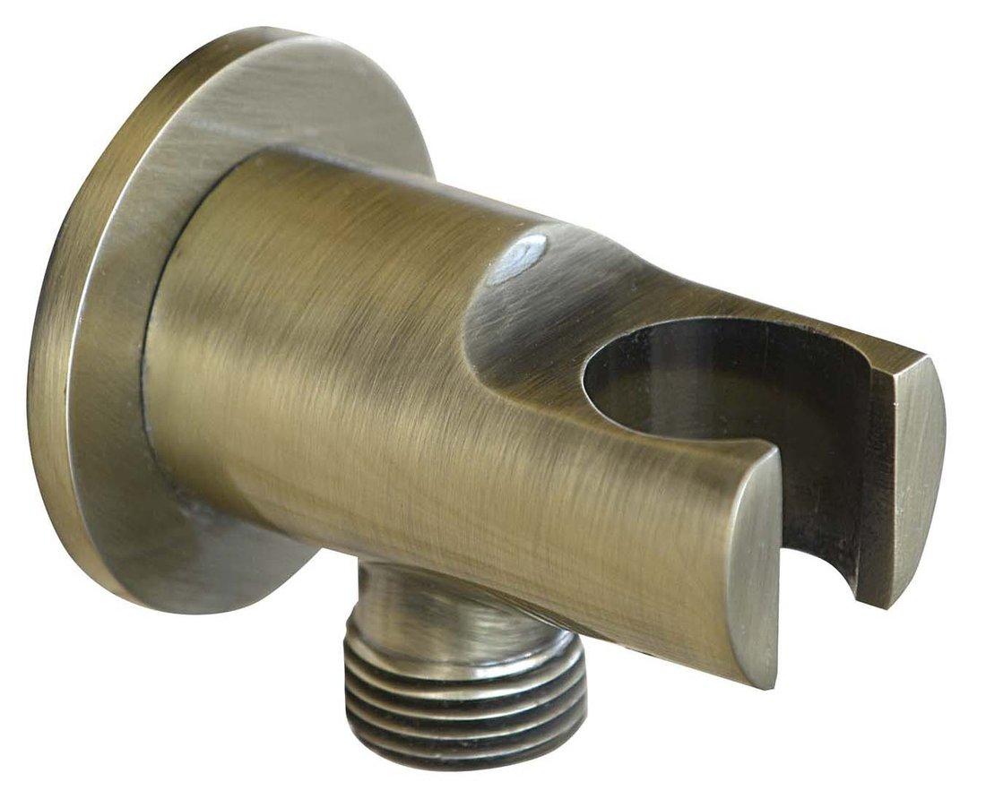 Držák sprchy kulatý, pevný, s vyústěním, bronz 981M6