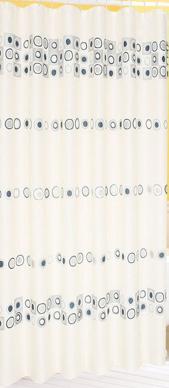 Závěs 180x200cm, 100% polyester, slonová kost s šedivými kruhy 23840