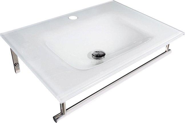 MADLEN skleněné umyvadlo s nerezovou podpěrou 70x50 cm, bílá sklo 2501-01